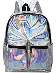 Marchome Hologram Laser Leather School Bookbag Casual Backpack for Girls Colleage Students