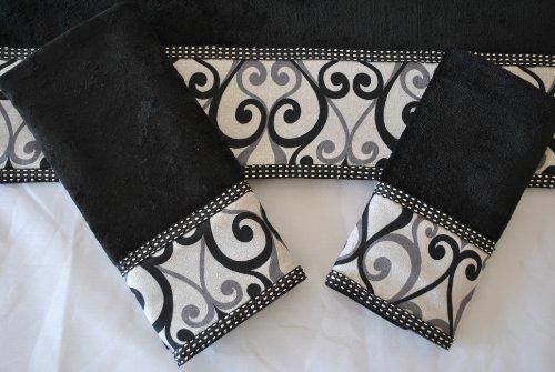 Sherry Kline Abingdon Black 3-piece Decorative Towels