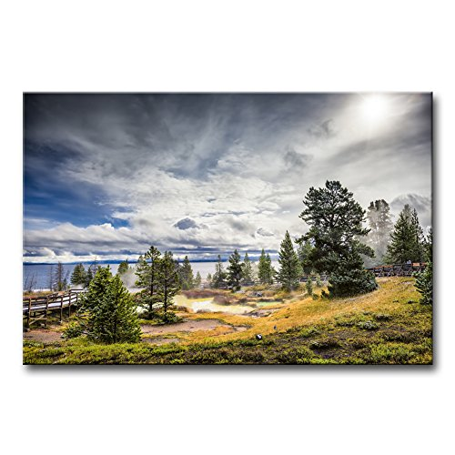 - Wall Art Decor Poster Painting On Canvas Print Pictures Steam Thermal Pools Geyser Activity Morning Yellowstone Lake Landscape Volcano Framed Picture for Home Decoration Living Room Artwork