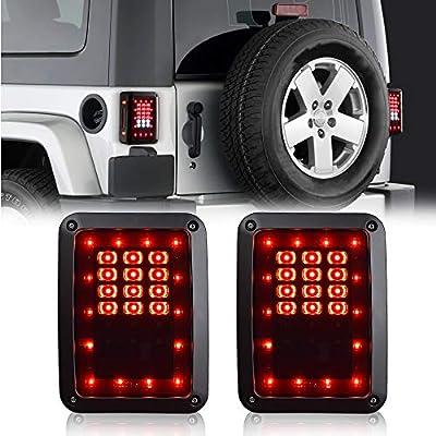 1 Year Warranty AAIWA Brake Reverse Light Rear Back Up Lights Turn Signal Daytime Running Lamps for 07-17 Jeep Wrangler LED Tail Lights for Jeep Wrangler