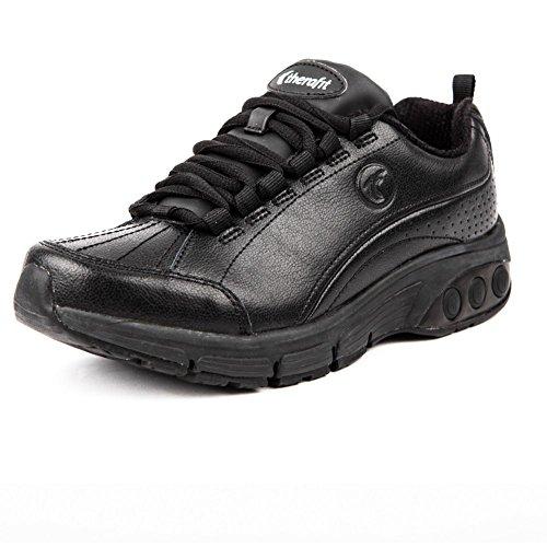 Therafit Shoe Women's Kathy Slip Resistant Leather Athletic Shoe 8 Black