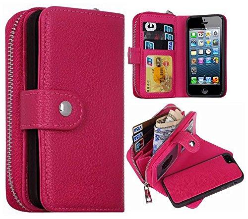iPhone 5S/SE Wallet Case, HYSJY Magnetic Detachable PU Leather Wallet Purse For Women Men with Zipper , Credit card Slots, Card Holer,Flip Slim Cover Case Fit iPhone 5/5S/SE (ZIP-Rose)