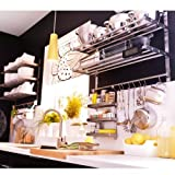 Ikea Grundtal Stainless Steel Kitchen Organizer Set 31.5'' (2 Shelves, 2 Rails and 30 Hooks)
