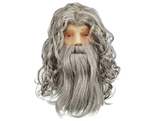 Loftus Adult Star Power Wizard, Warlock, Sorcerer Beard & Wig, Grey, One Size