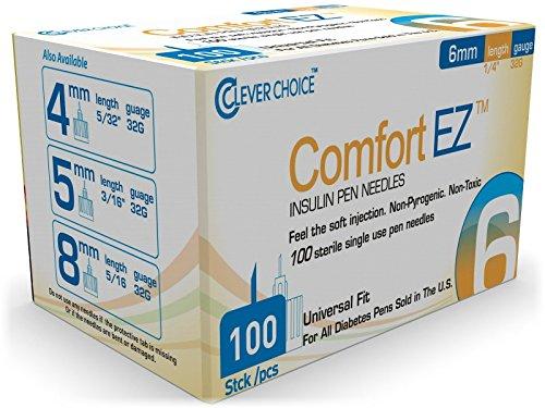 Clever Choice Comfort EZTM Insulin Pen Needles 32G 6mm (1/4