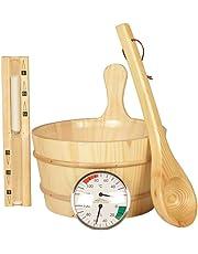 Kit d'accessoires de sauna classique 5pièces, set de sauna en bois naturel