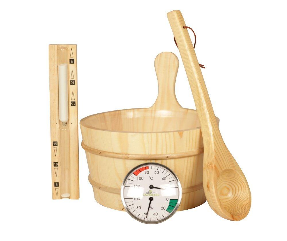 Classico set da 5pezzi da sauna, in legno naturale Sonstige
