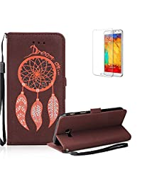 Galaxy A7 Wallet Case.Galaxy A7 Case .Funyye Retro Emboss Fashion Dream Catcher PU Leder Wallet with Card Holder Slots Stand Protective Case for Samsung Galaxy A7 (2017 Model)-Brown