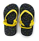 Toddler Boys Flip Flops with Back Strap. Beach Sandals Thong Toe Printed Summer Shoes for Kids, this comes with a Superhero Comics Brightly Colored Rubber Bracelet to add ''Fun Power'' into the water (Large (9-10), Black/Yellow Transportation)