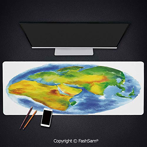 Desk Large Mat Mouse Pads Globe of Earth Painted in Watercolors Cartography Geography Continents Keyboard Pad for ()
