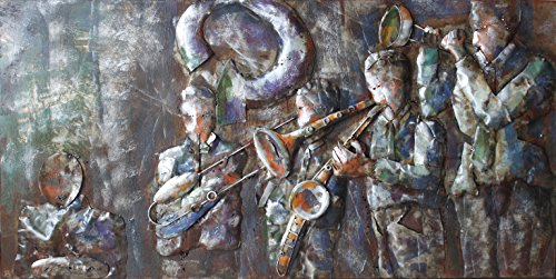 Empire Art Direct ''Jazz Band'' Mixed Media Hand Painted Iron Wall Sculpture by Primo by Empire Art Direct