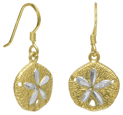14K Gold Plate Sterling Silver French Wire Earrings, 5/8 inch long, Sand Dollar