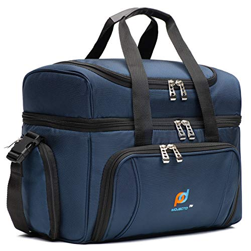 Large Cooler Lunch Bag With Extra Liner. Two Insulated Compartments, Heavy Duty Fabric, Thick Foam Insulation, 2 Heat Sealed Soft Peva Liners, Many Pockets, Strong Double Zippers, Padded Straps.