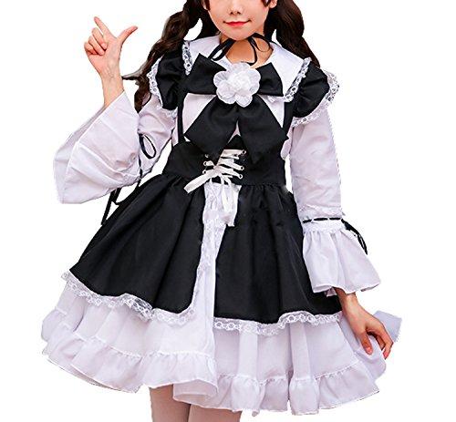 (TRマーケット) メイド服 コスプレ メイド セット ゴスロリ ワンピース ロリータ コスチューム 衣装 エプロン 黒 (Sサイズ)