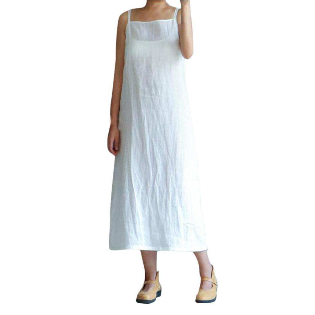 OIKAY Damen Baumwolle Casual Stickerei Kleider Plus Size Solide Lose Ärmelloses Kleid
