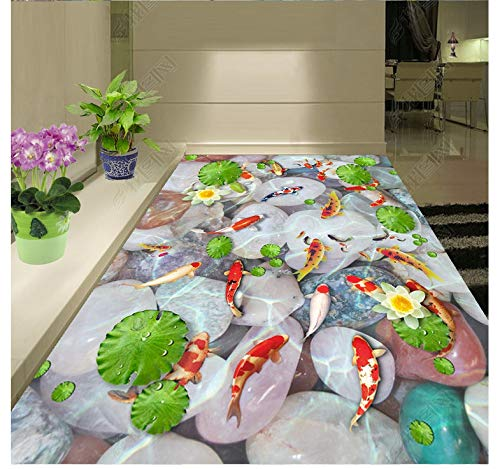 Papel Pintado 3D Fondo De Pisos Impermeable Murales Adoquín Original De Peces De Agua En 3D.-450X300cm