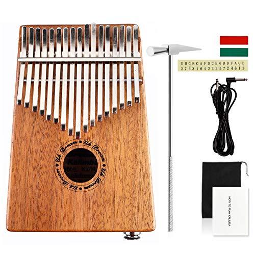 UK Dream 17 Keys EQ Kalimba,Mahogany Tone Wood Electric Finger Thumb Piano Hammer&Android/iOS APP Tuning with Audio Interface and Cable UK-K17MEQ