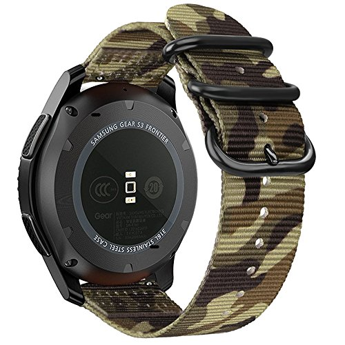 Bands for Galaxy Watch 46mm / Gear S3, Fintie Soft Woven Nylon 22mm Band Adjustable Replacement Sport Strap with Metal Buckle for Samsung Galaxy Watch 46mm / Gear S3 Classic Frontier - Camo
