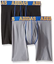 adidas Boys Sport Performance Climalite Midway Underwear (2 Pack), Black/Blue/Grey/Blue, X-Large