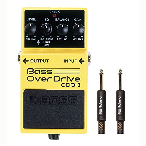 Boss ODB-3 Bass Overdrive with Roland Premium Black Series 15ft Instrument Cable