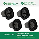 FilterBuy 4 - Dirt Devil F25 F-25 Dust Cup Allergen Filters. Designed to Replace Part #'s 2SV1102000 & 3SV0980000.