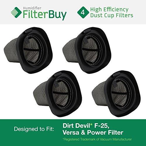 FilterBuy 4 - Dirt Devil F25 F-25 Dust Cup Allergen Filters. Designed to Replace Part #'s 2SV1102000 & 3SV0980000. by FilterBuy