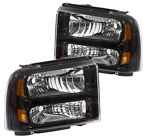 Fits Ford F250 F350 F450 Excursion 1 Pieces Black Housing Amber Reflectors Headlights