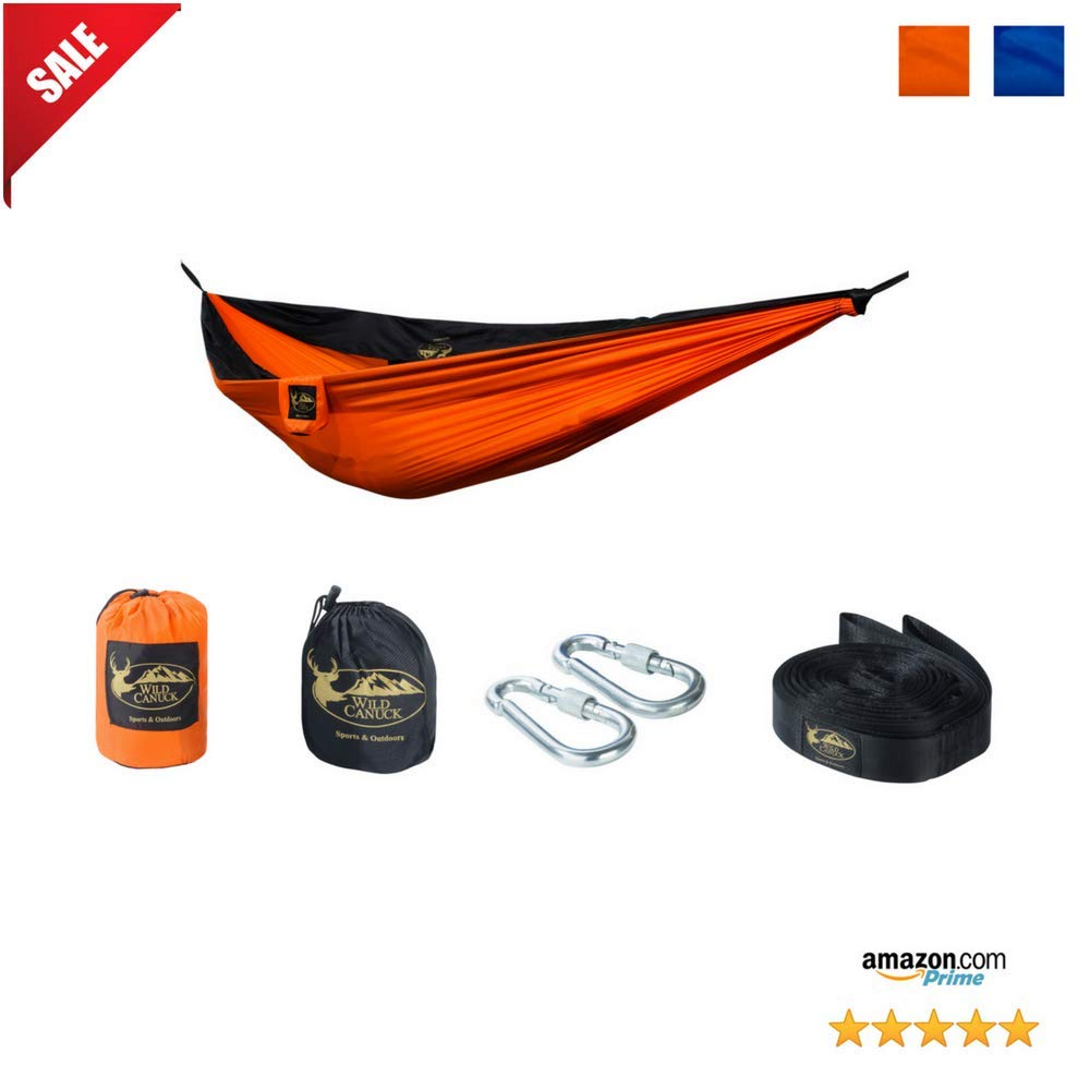 Wild Canuck 2 Person XL Camping Hammock - With Easy-To-Use Tree Hanging Straps Instead Of Ropes, Steel Carabiners with Locks & Durable, Lightweight Ripstop Nylon ( Orange-Black )