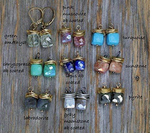 Gemstone Faceted Cube Earrings- 1