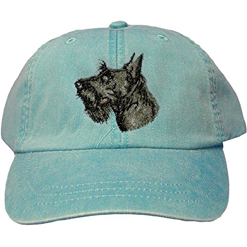 - Cherrybrook Dog Breed Embroidered Adams Cotton Twill Caps - Caribbean Blue - Scottish Terrier