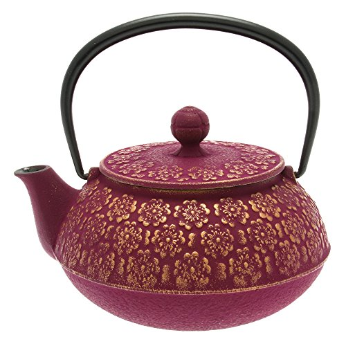 - Iwachu Japanese Iron Tetsubin Teapot, Cherry Blossoms, Gold and Purple