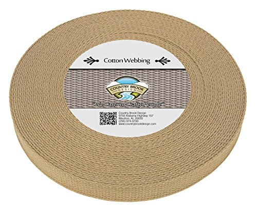 Country Brook Design 1 Inch Camel Heavy Cotton Webbing, 10 Yards