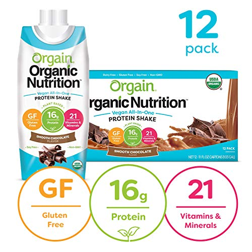 Orgain Organic Vegan Plant Based Nutritional Shake, Smooth Chocolate - Meal Replacement, 16g Protein, 21 Vitamins &...
