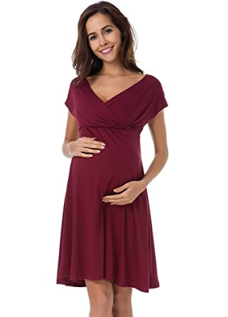 06bca95a8294e Pinkydot Maternity Deep V Neck Wrap Dress Mama Clothes For Baby Shower Maternity  Dress Wine Red M at Amazon Women's Clothing store:
