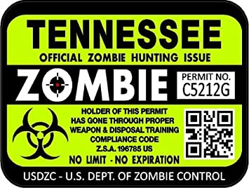 """3/""""x4/"""" Wisconsin Zombie Hunting License Decasl Stickers ProSticker 1259 Two"""