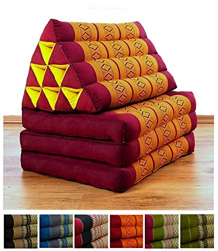Three Fold Thai Cushion, 67x20x3 inches (LxWxH), 100 % Natural Kapok Filling, Foldable Thai Mat with Triangle Cushion, Headrest, Thai Pillow