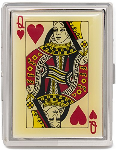 - Queen of Hearts (100s) Premium Nickle-Plated Metal Cigarette Herbal Cigarette Cigar Tobacco Carrying Stash Storage Case
