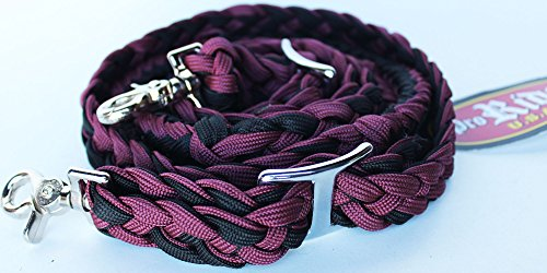 - PRORIDER Horse Roping Knotted Tack Western Barrel Reins Nylon Braided Burgundy BLK 607161