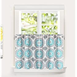 "DriftAway Bella Medallion Pattern Room Darkening Kitchen Tier Window Treatment, Set of Two, Each 30""x36""+ 1"" Header, Aqua/Gray"