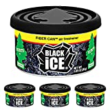 LITTLE TREES Car Air Freshener | Fiber Can Provides a Long-Lasting Scent for Auto or Home | Adjustable Lid for Desired Strength | Black Ice, 4-Pack