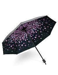 DORRISO Vogue Mujer Plegable Paraguas Mini Paraguas y Sombrillas Antviento Anti-UV Impermeable Ligero Viaje Paraguas Rosa A