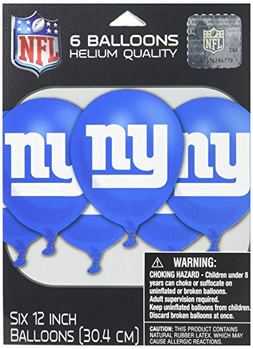 New York Giants Printed Balloons NFL Football Sports Party Decoration, Latex, 12