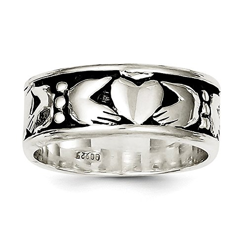 Size 10 Solid 925 Sterling Silver Claddagh Design Ring (8mm)