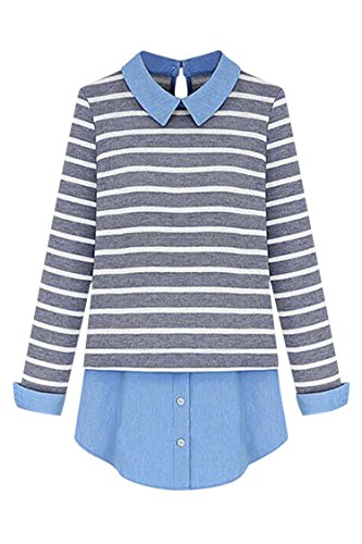 Pink-Queen-Womens-Plus-Size-Striped-PatchworkFake-Two-Piece-Blouse-Sweater