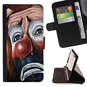 King Air - Premium PU Leather Wallet Case with Card Slots, Cash Compartment and Detachable Wrist Strap FOR Samsung Galaxy S5 V SM-G900 G9009 G9008V- Clown Joker