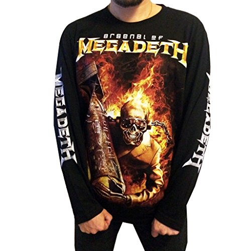 Jigg And Roll Men's Megadeth T-Shirt Long Sleeve XXX-Large Black Xxxl Band T-shirts