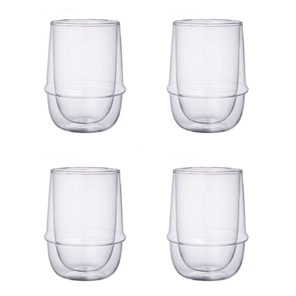 KINTO KRONOS Double Wall Iced Tea Glass, 11.8 Oz, Set of 4