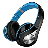 Mpow Bluetooth Headphones Over Ear, Hi-Fi Stereo Wireless Headset, Foldable, Soft Memory-Protein Earmuffs, w/ Built-in Mic and Wired Mode for PC/ Cell - Blue