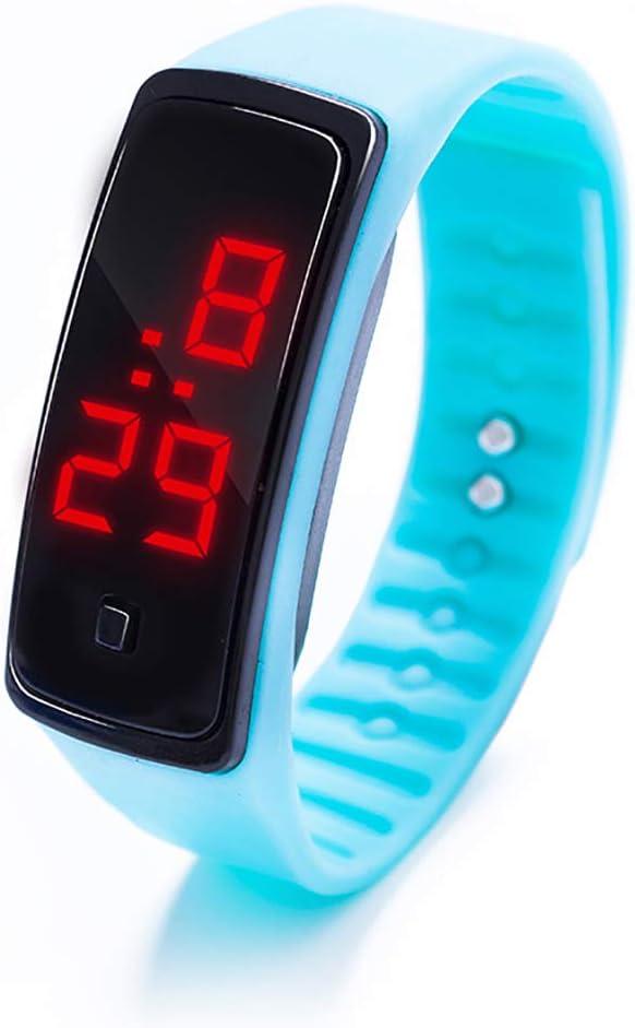 AKDSteel Montre-Bracelet LED à Affichage numérique pour Enfants et étudiants en Gel de silice bleu ciel