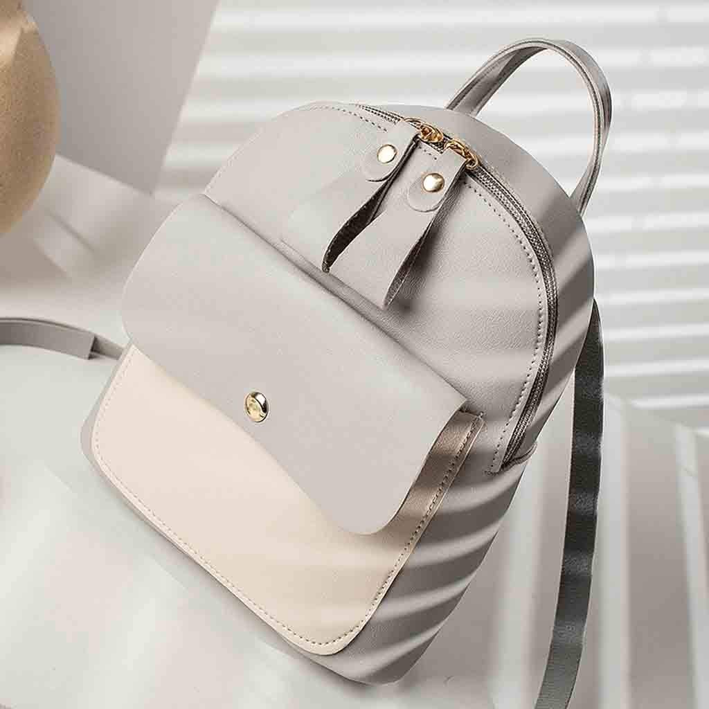 Backpack, Women Teen Girls Fashion Color Block Mini Travel Backpack Messenger Bags Shoulder Bags Satchel Daypack (Gray) by Challyhope Backpack Purse (Image #3)
